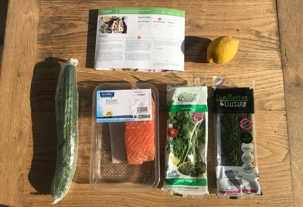 saumon sauce citron et salade de concombre