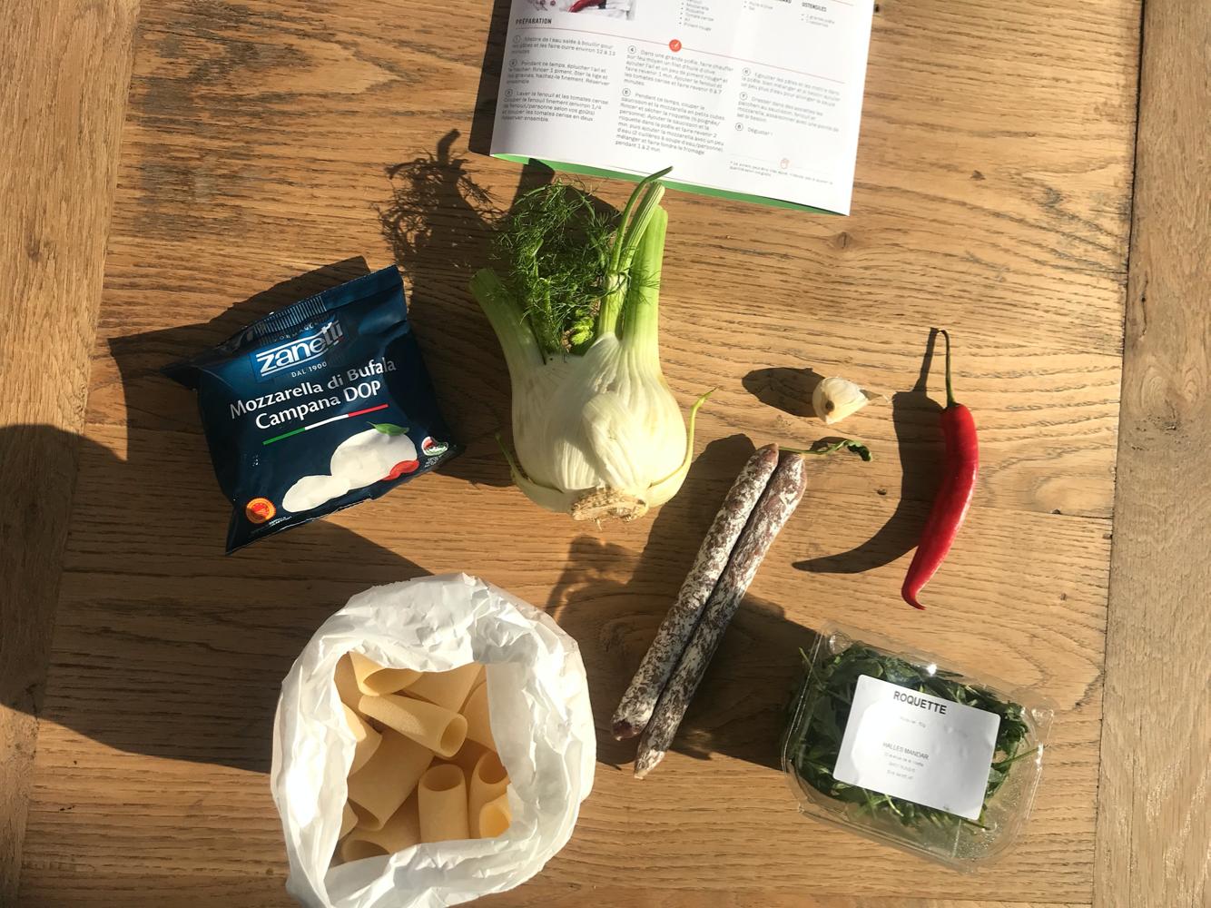 paccheri au saucisson fenouil et mozza