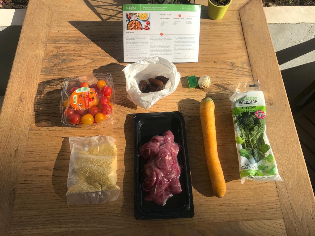 agneau à la sauce tomate, carotte et dattes aux épices orientales